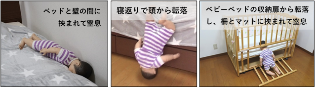 画像:転落事故事例の発生パターンを参考として、ダミー人形を使用した転落事故のイメージ。ベッドガードとベッドとのすき間に0~1歳児を想定した人形が転落しているシーンのイメージ写真3枚。左:ベッドと壁の間に挟まれて窒息 中央:寝返りで頭から転落 右:ベビーベッドの収納扉から転落し、柵とマットに挟まれて窒息